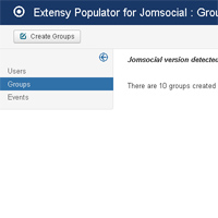 When entering a section, like Groups, you are informed about the version of the Jomsocial library used and how many objects have already been created by Populator.